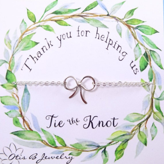Silver bow necklace, Bridesmaid gift, bridesmaid thank you card, Tie the knot necklace, Silver knot necklace, bridal gifts, wedding jewelry