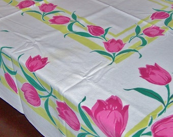 "Vintage Startex Tablecloth, Brilliant Color, Red Tulips, Chartreuse, Emerald Green, 50"" x 63"", 1950's, FREE SHIPPING"