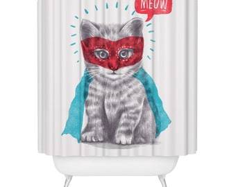 Super Hero Cat Lover Shower Curtain Cute Funny Kitten Feline Animal Meow White Blue Red Fabric Bathroom Decor