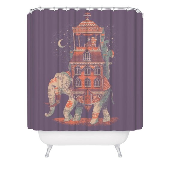 Traveler Shower Curtain - India Asia Africa Animal Shower Curtain ...