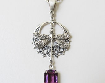 Dragonfly Charm Necklace Amethyst Rhinestone Drop