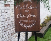 Stained Plywood Custom Sign. Choose your size. Wedding Welcome. Ceremony Program. Menu. Wine List. Event Timeline. Seating Chart. Quote