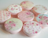 Pink Shabby Rose Knobs, Cottage Style Rose Knobs, Shabby Drawer Knobs- Wood Knobs- 1 1/2 Inches