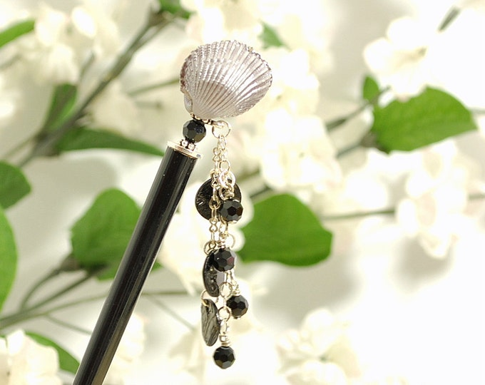 "Charm Hair Stick Black Hairstick Geisha Hair Pin 5 inch Hair Stick - ""Karma"""