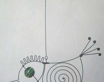 Metal Sculpture Small Green - Eyed Wire Bird