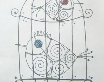 Wire Birdcage Sculpture With Two Birds