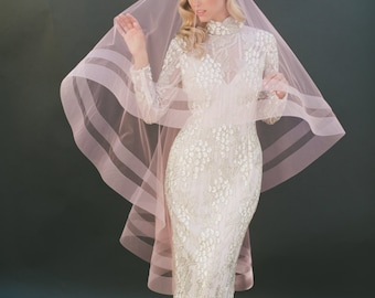 Horsehair Veil, Drop Bridal Veil, Ivory Drop Veil, Blush Veil, Fingertip Veil, Soft Wedding Veil, Drop Wedding Veil, Soft Veil, Boho 1203