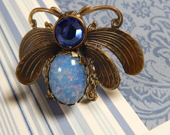 Bug Ring, Insect Jewelry, Moth Ring, Jeweled Insect Ring,  Blue Opal Ring