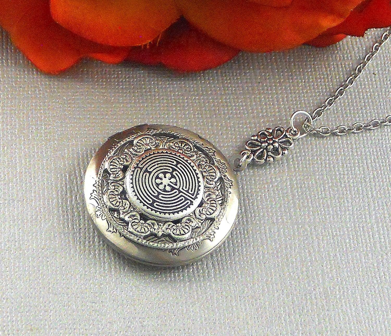 Labyrinth Locket Silver Locket Labyrinth Spiritual Jewelry