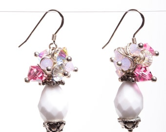 Confetti Czech Glass Milky White Glass with Pink and White Swarovski Crystal Sterling Silver Wire Wrapped Earrings