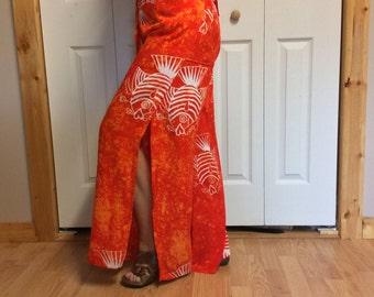 M/L Orange Batik Wrap Pants with Pockets/Long Pants/Open Pants/Cover Up Pants/Wide Leg Pants/Upcycled Recycled Repurposed/Boho Hippie/Beach
