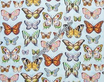 "Cranston Beautiful Mixed Butterflies Insects Cotton Fabric Fat Quarter 18"" x 22"""