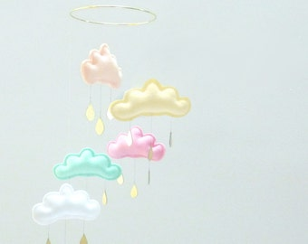 """Star  Nursery cloud mobile """"NORA Baby yellow""""  by The Butter Flying-Peach--light yellow,-pink-mint white nursery."""