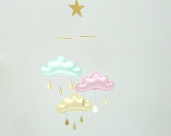 """Light mint, Light pink, Light yellow cloud mobile for nursery with gold star """" SORBET"""" by The Butter Flying-Rain Cloud Mobile Nursery"""