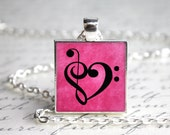 "Music In My Heart Design One Inch 1"" Pendant Necklace with Organza Bag"