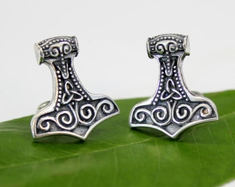 Thors Hammer Cufflinks Mens Silver Mjolnir Cuff Links Viking Cufflinks 485