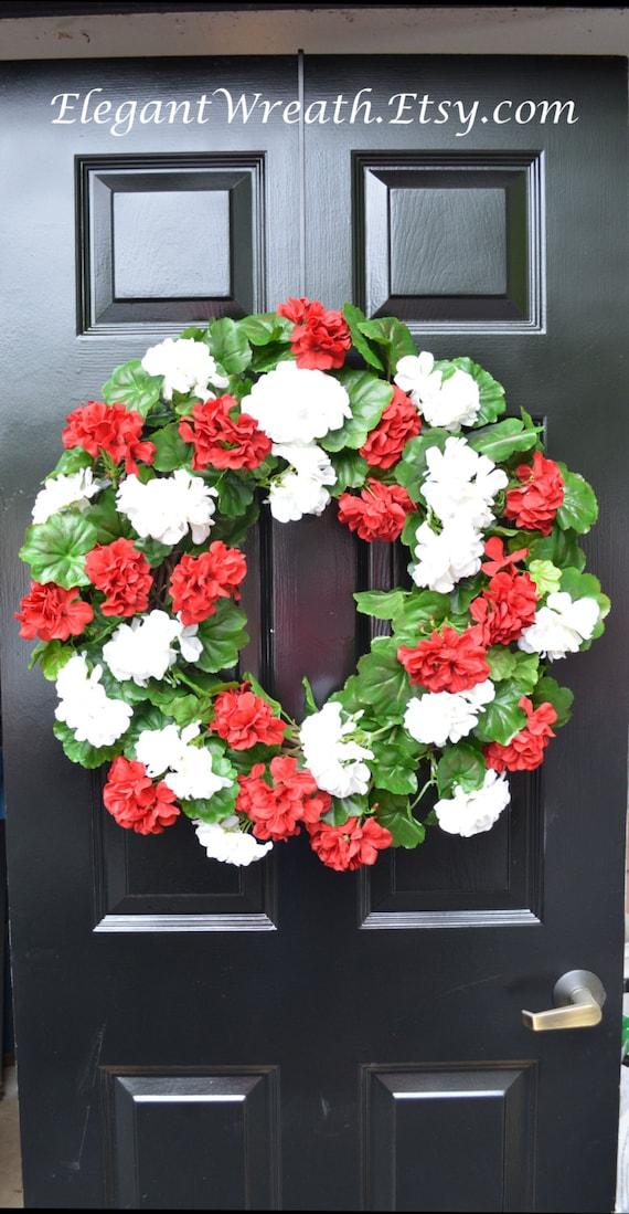 Summer Wreaths- Geranium Wreath- Outdoor Summer Wreaths- Door Wreath- Etsy Wreath