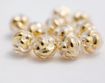 Vintage Lucite Crystal Gold Bubble Knot Round Beads 15mm (12)