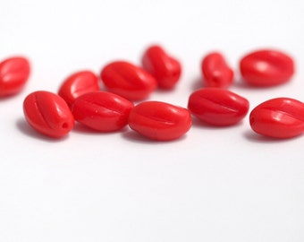 Vintage German Twisted Red Oval Glass Rice Beads 12mm (10)