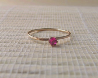 Ruby Gold Fill Stacking Ring July Birthstone On Sale Ready to ship size 7.5