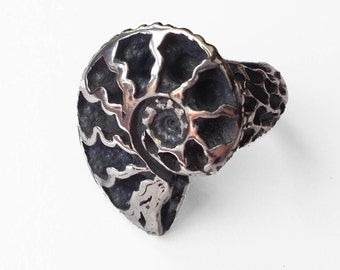 Silver Nautilus Ring, Solid Sterling Silver, hand carved from wax and made in my studio, ammonite ancestor of the chambered nautilus