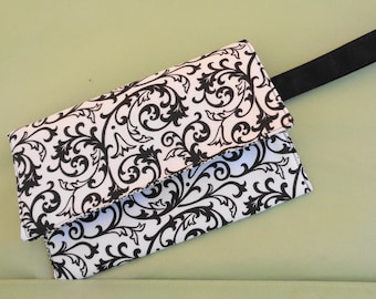 Black and White Bag Small Wristlet Clutch Bag