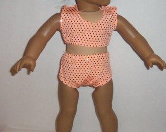 18 Inch Doll, Bathing Suit, Sparkling Coral, Swimsuit, 1 Pc or 2 Pc, American Made, Girl  Doll Clothes, Dancewear