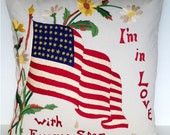 """20"""" x 20"""" Americana Square Throw Pillow Cover Embroidered Flag Daisy Patriotic 4th of July USA America Vintage Style Red Blue Stars Stripes"""