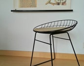 Reservation for Gabe / original PASTOE WiRE STOOL with cushion ! / Braakman / 1960s / tomado chair
