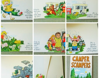 Vintage Stationery, Camper Scampers, Kitschy Stationery, Note Pad, 1970s Notes, Vintage Paper, Seventies Funny Notes, 1970s Stationery