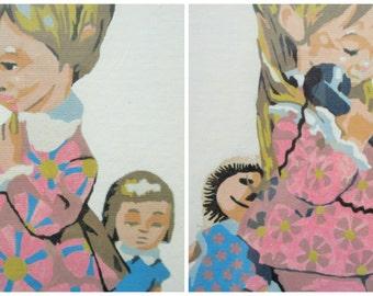Vintage Paint By Numbers, PBN Children, Framed Paint by Numbers, Children Paintings, Kitschy Paintings, Little Girls, 1960s PBN, Vintage Art