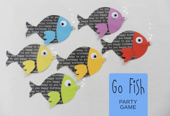 KIT GO Fish Birthday Party Game / Under the Sea Party / Ariel Birthday Party / Mermaid Party / Party Game /Camping Birthday Party