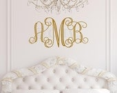 Custom 3 Initial Monogram OUTLINE FONT Vinyl Decal Lettering quote sticker wedding gift