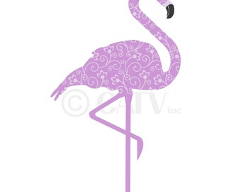 Custom tall Flamingo fabric repositionable vinyl wall decal you choose colors removable reuseable cute self adhesive wall decor