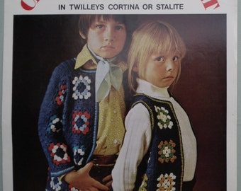 Vintage Crochet Pattern 1960s 1970s Childrens Unisex Hippy Waistcoat Tunic Boho Jacket Granny Squares Motifs 60s 70s UK original pattern UK