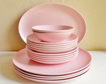 Pink Vintage Pebbleford Dishes Plates Platter Saucers Bowls 17 pieces