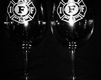 International Association of Firefighters 13 Ounce Wine Glass Set