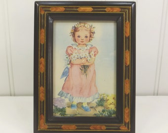 Little Girl in Pink with Daisies in Wood Inlay Frame, Rachel Taft Dixon Art from Prayers for Children