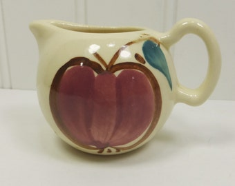 Purinton Tiny Red Apple Ceramic Pitcher, Collectible Child Size Miniature Cream Pitcher
