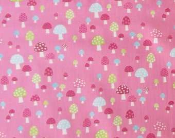 Pink Mushroom Fabric - Cute Quilter's Weight Cotton Print Fabric - One Yard - Yardage - By the Yard