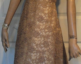 Vintage Beige Lace and Pearl Party Dress B40 Norman Original Back Bustle