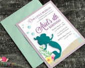 Little Mermaid Invitations · A2 LAYERED · Turquoise and Purple · Birthday Party | Baby Shower | Ariel | Under the Sea | Pool Party