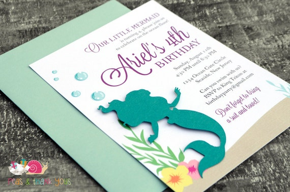 Little mermaid invitations a6 flat turquoise and purple il570xn filmwisefo Choice Image