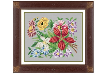Colorful bouquet.  Cross stitch pattern. Instant download PDF.