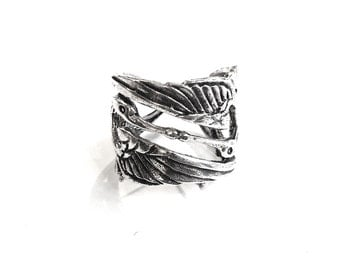 Swan ring Woman Gift/ Special gift/ Silver ring/ Elegant style/ Unique ring/ Handmade/ Made in France/Fashionable ring