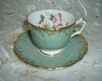 Vintage Aynsley Bone China Mint green Cup and Saucer SALE