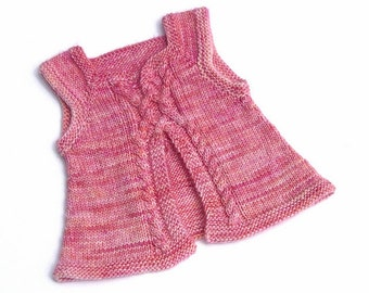 Girl's hand knitted cardigan, sweater, tunic. Pullover cardigan for a 1 year old girl. Pink orange peach. 12-18 months. Hand dyed soft wool