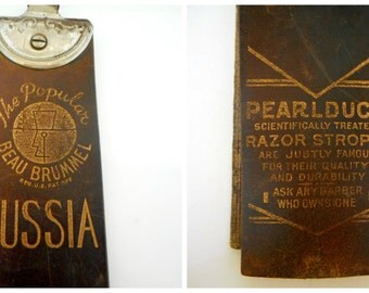 "Vintage Barber Shop PEARLDUCK ""Russia"" Razor Strop Antique Leather Razor Strop"