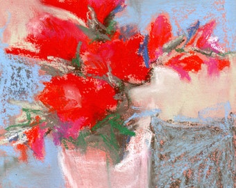 """Original Pastel Painting, """"Ivory Tower"""" - 7.5 x 10 on Textured Paper, Flowers in a Vase, Floral Art"""