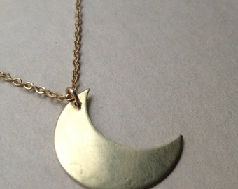 Brass Moon Necklace, Crescent Moon on Long gold filled Chain